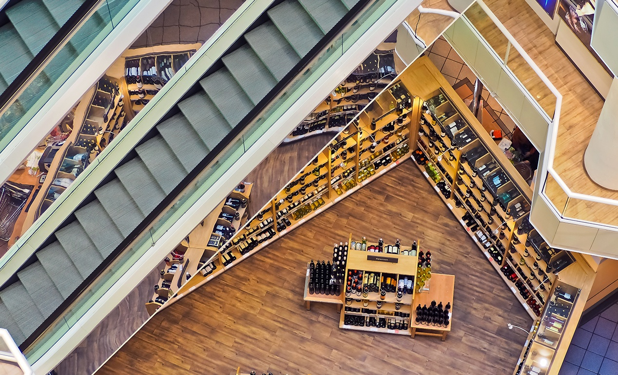a shot from above of a wine retail store