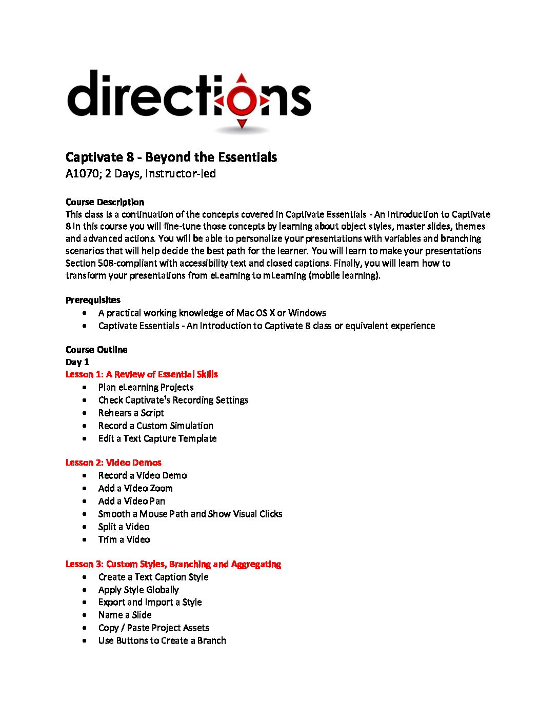 Latest News | Directions Training | Online Learning