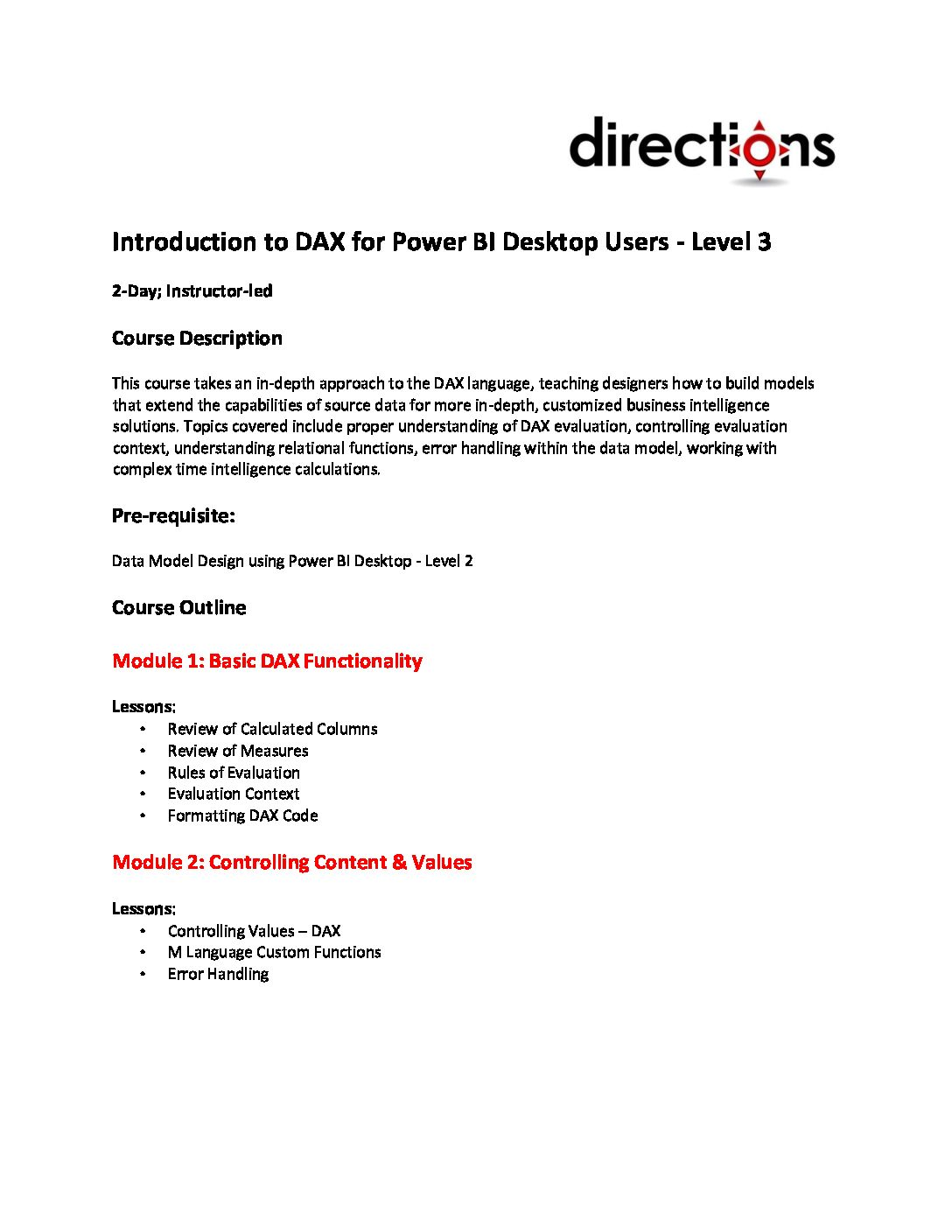 Latest News   Directions Training   Online Learning
